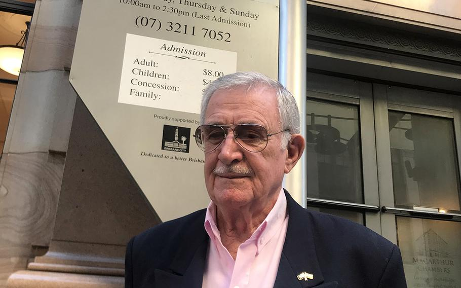 Ron Rees, who met Gen. Douglas MacArthur in the street during World War II, is a volunteer guide at the MacArthur Museum Brisbane.