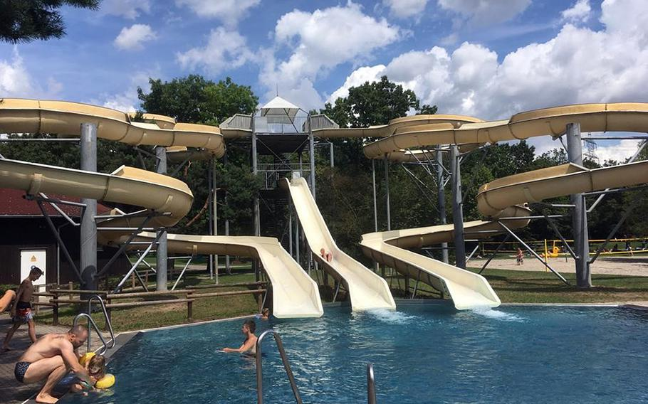 Heidesee lake has various amusements, including water slides, beach volley ball courts and a playground for kids.