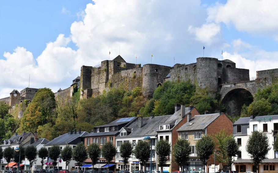 Chateau de Bouillon, a massive medieval castle dating back to at least the 10th century, hovers over the southern Belgian town of Bouillon.