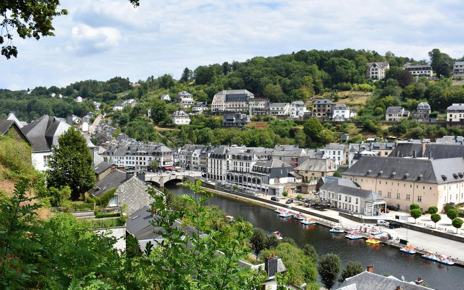 Chateau de Bouillon is the subject of many photographs of Bouillon, Belgium, but a climb up to the castle offers lovely vantage points of the town below, including its ubiquitous paddle boats.
