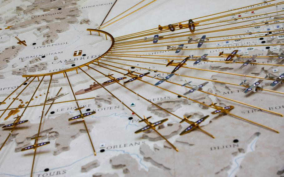 Detail shot of the giant map of the air campaign of Europe Aug 12, 2019, in the Memorial Chapel on the Cambridge American Cemetery.