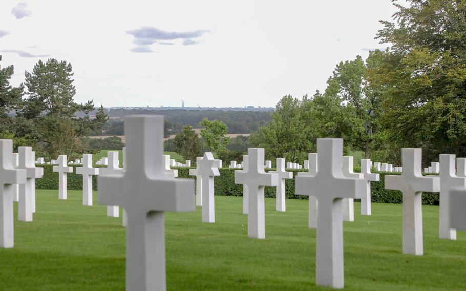 The view from the Cambridge American Cemetery grounds Aug. 12, 2019, overlooks the English countryside.