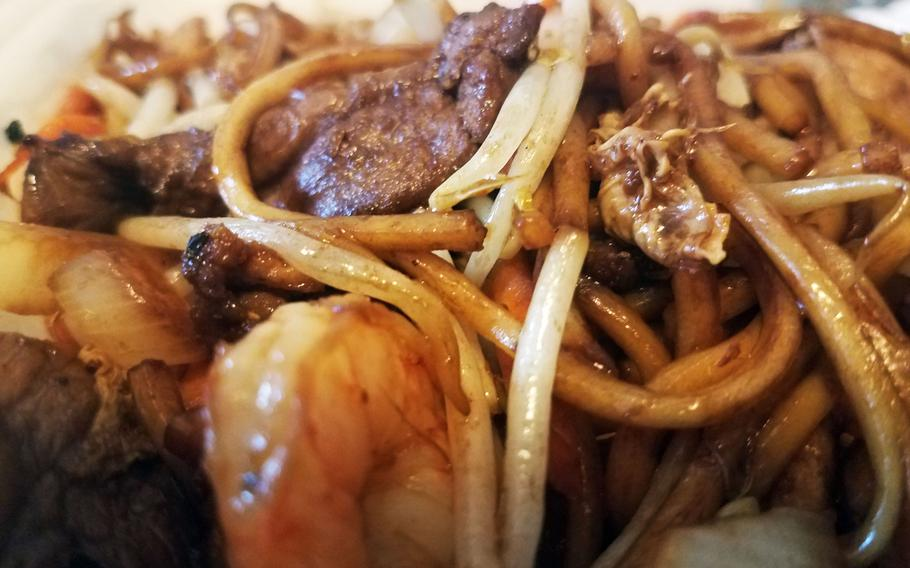 Fried noodles with duck, chicken, shrimp and chicken from The Chinese in Grafenwoehr, Germany.
