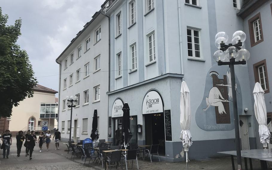 The cafe-bistro-bar Storchenturm in Kaiserslautern, tucked-in behind the Rewe shopping center on Stiftsplatz.
