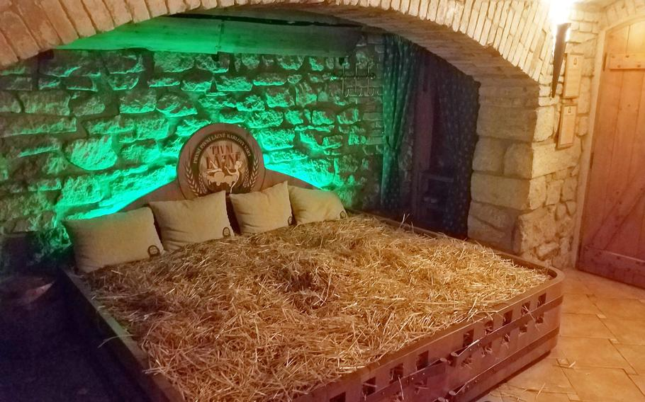 The hay bed at Spa Beerland Karlovy Vary, in Karlovy Vary, Czech Republic.