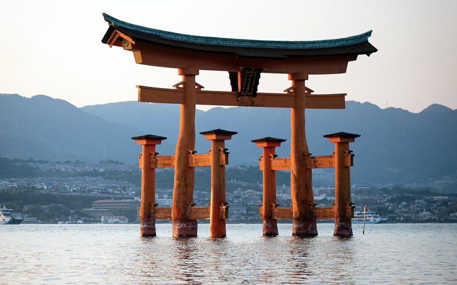 The iconic torii just off the coast of Miyajima, Japan, appears to be floating when the tide is high.