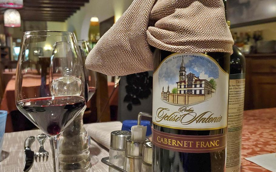 Cellini Ristorante & Pizzeria has an extensive wine selection, in addition to their full bar that stocks alcoholic and nonalcoholic beverages. This particular wine pictured is a local variety.