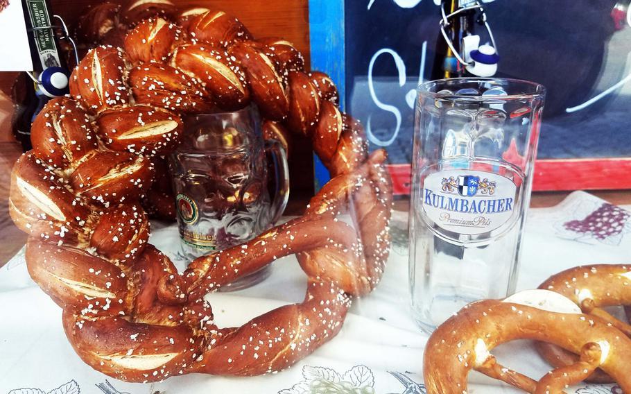 A pretzel wreath at Backerei Konditorei Cafe Bauer, in Grafenwoehr, Germany.