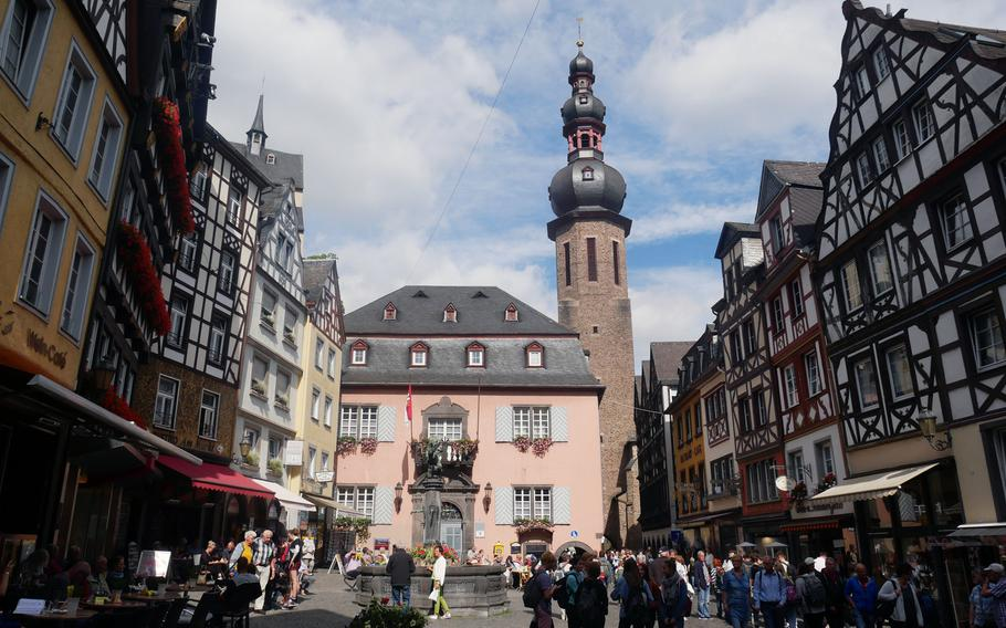 The colorful marketplace in Cochem, Germany. The city is a popular tourist destination for sightseeing, boat rides on the Moselle River, wine tasting and for bikers and hikers.