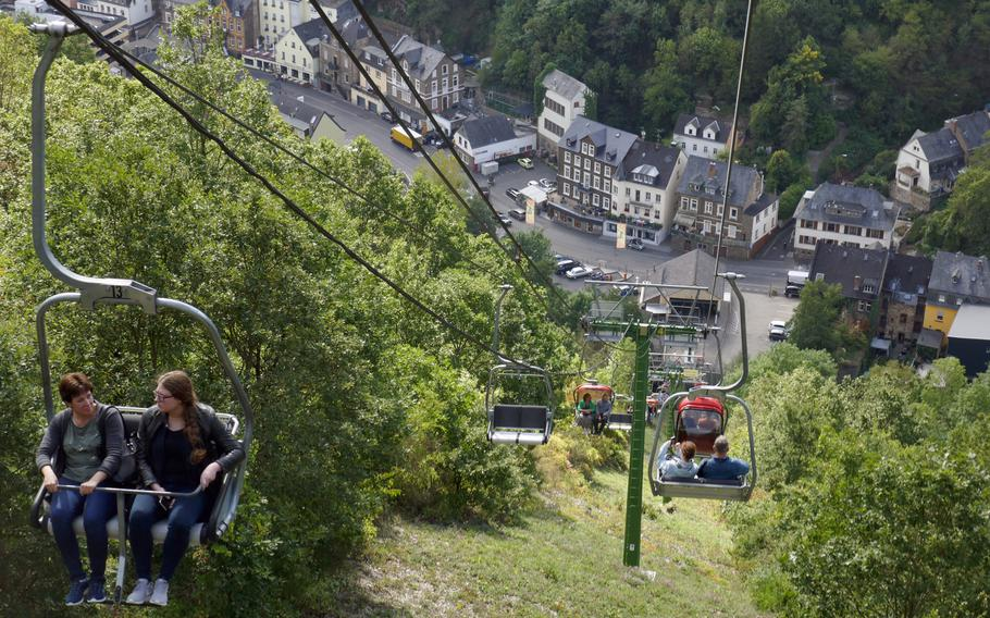 The Cochem chairlift takes you up to a plateau both the town, where there are good views of the Moselle River valley.