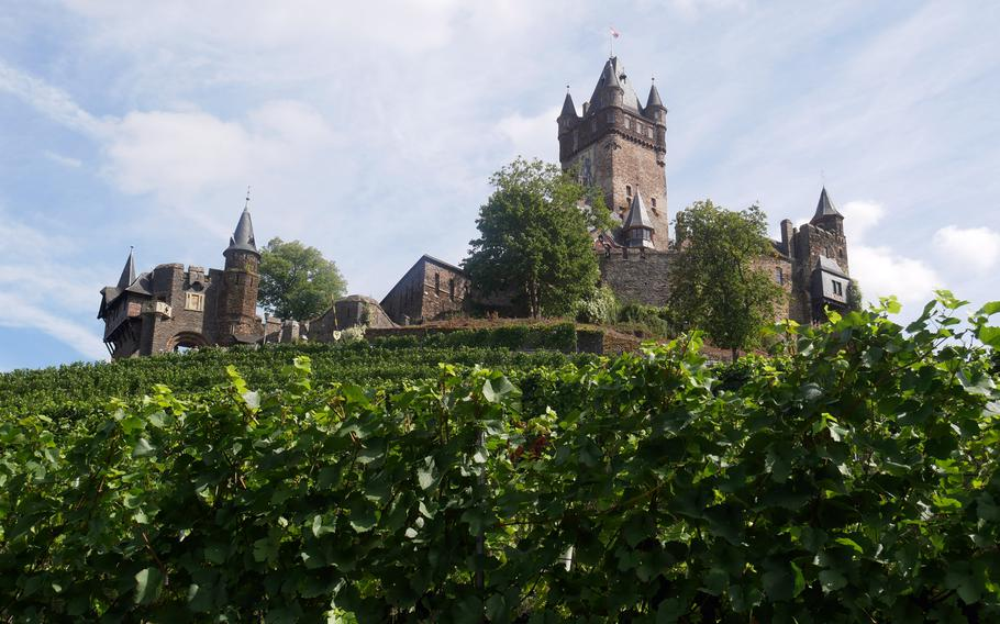 Vineyards lead up to Reichsburg Cochem on the Moselle River. Parts of the castle date back to the 11th century and the town is a popular tourist destination.