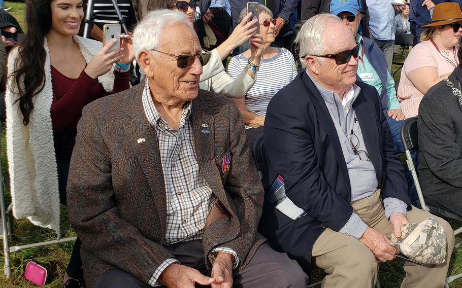 Gene Metcalfe, left, and Richard Blankenship sit as guests of honor before receiving the Military Order of William Orange Lanyard, the Netherlands highest award, September 18, 2019. Richard Blankenship accepted the award on behalf of his father, Robert C. Blankenship, who passed away in 1970. The men earned the award based on their actions and participation in Operation Market Garden and the liberation of the Netherlands from Nazi Germany forces.