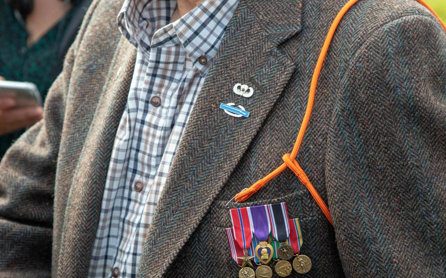 Gene Metcalfe, a World War II veteran and former POW, wears his Orange Lanyard after being awarded the Military Order of William, in Groesbeek, the Netherlands Sept. 18, 2019.