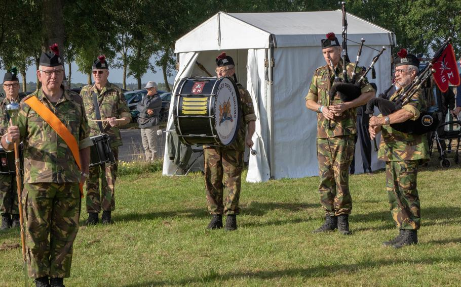 Dutch musicians of the 11th Airmobile Brigade, play during the commemoration of the 75th anniversary of Operation Market Garden and the presentation of the Military Order of William to WWII veterans in Groesbeek, the Netherlands on Sept. 18, 2019.