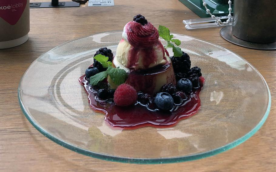 Dessert at Hotel Koe in Tokyo's Shibuya district on a recent Saturday was a small hill of pudding, ice cream and whipped cream in a berry sauce.