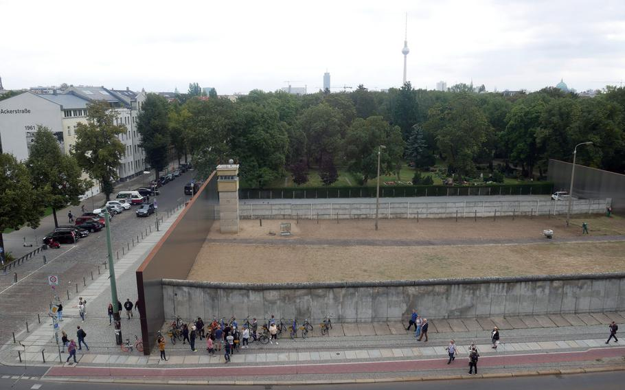 A view of the Berlin Wall Memorial from the Documentation Center's viewing platform shows what the Wall once looked like and only some of the obstacles a person would need to cross while trying to escape. The view is looking from west to east.