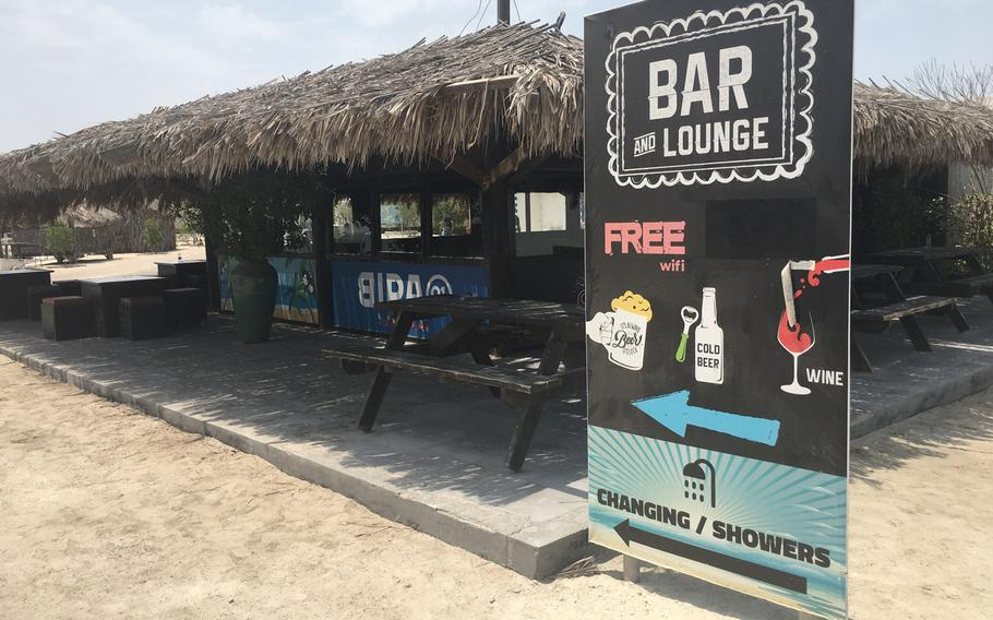 A bar and cafe at Al Dar Island on Aug. 12, 2019. Al Dar Island is a quick beach getaway from the bustle of Manama.