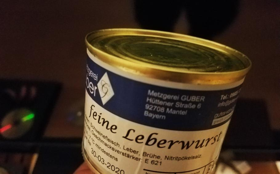 Leberwurst from Gubers Wurst and Brotzeitautomat, a vending machine that dispenses meat in Mantel, Germany.