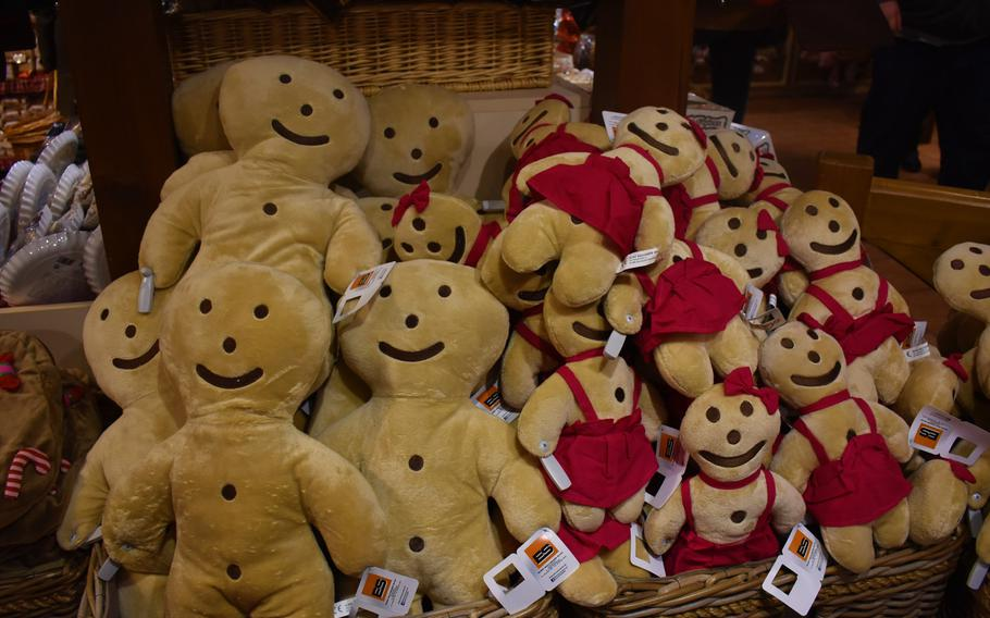 The gift shop at Le Palais du Pain d'Epices in Gertwiller, France, offers plenty of non-edible gingerbread-themed souvenirs to take home, such as these stuffed gingerbread people.