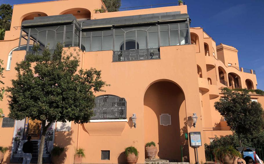 Hotel Punta Tragara, with its vivid clay-colored, arched exterior, is the first or last notable landmark on an Arco Naturale hike, depending on which direction you go. Winston Churchill and Dwight D. Eisenhower met here to strategize during World War II.