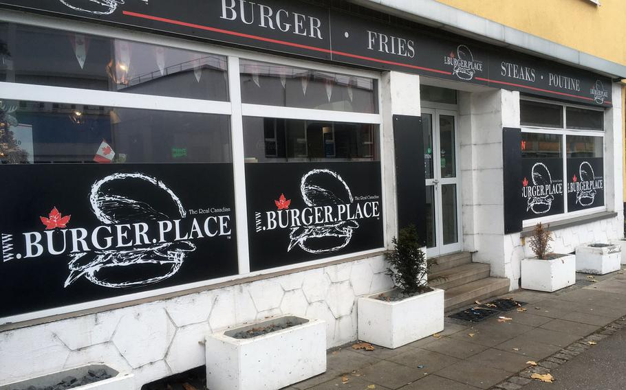 The Burger Place, in Stuttgart's Zuffenhausen section, is a Canadian themed eatery with a large burger menu.