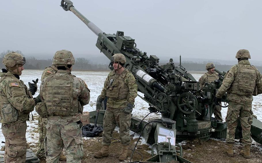 Soldiers with 2nd Cavalry Regiment prepare for a live-fire exercise in Vilseck, Germany, Dec. 12, 2019.