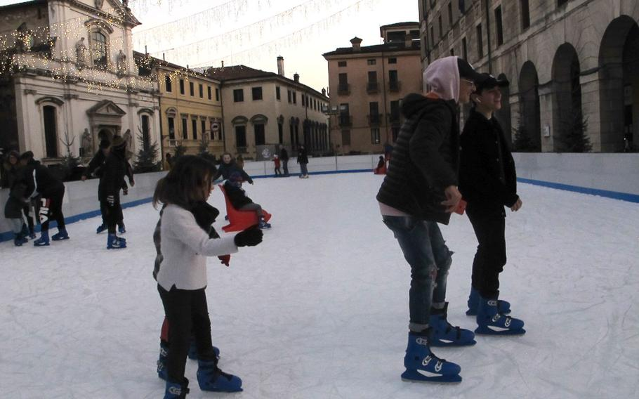 An ice skating rink in Vicenza's old town next to the Piazza dei Signori lets kids work off their Christmas cookies. The rink is open through January.