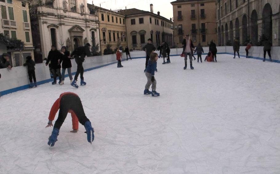 Vicenza's downtown ice skating rink is fun for skaters as well as observers who appreciate physical comedy.