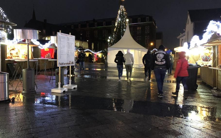 At least a dozen stands at the Christmas market in Bastogne, Belgium, offered different varieties of vin chaud, the French for Gluehwein on Dec. 15, 2019.