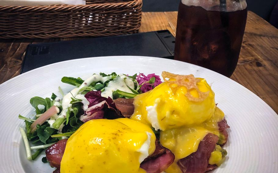 Eggcellent's most popular dish is Half and Half Benedict. One half is a traditional eggs Benedict on an English muffin, while the other is served with quinoa.
