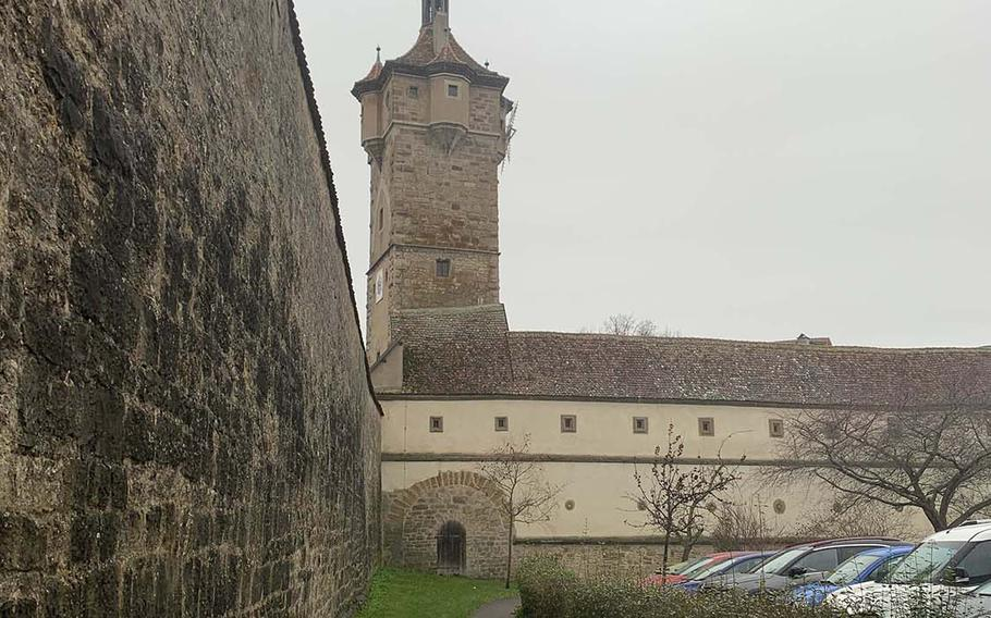 The fortified wall around Rothenburg, Germany.