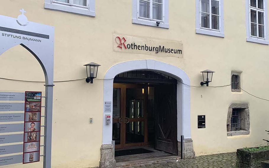 The entrance of the Rothenburg Museum, also known as the Imperial City Museum, at Rothenburg, Germany. Built in an old monastery, the museum houses Germany's oldest preserved monastery kitchen, dating from the 13th century.