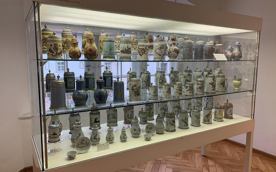 One of the beer stein exhibits inside the Imperial City Museum at Rothenburg, Germany, December 15, 2019.
