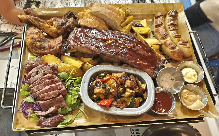 Doppio Malto's mixed grill for two is one of many delicious items on the menu at this new restaurant and brewery location at Granfiume Gran Shopping mall in Fiume Veneto, Italy.