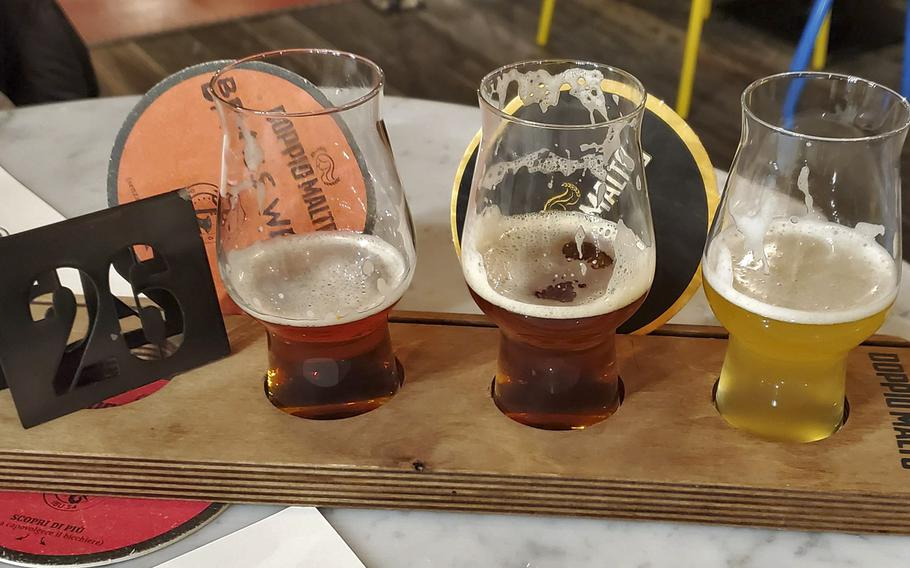 Doppio Malto offers a craft beer sampler that allows you to try small quantities of several of their brews.