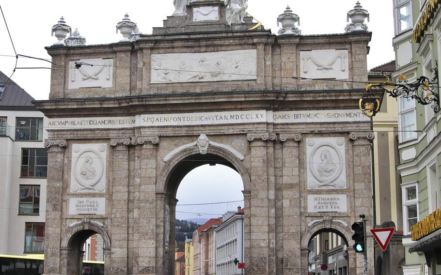 Innsbruck's Triumphforte, or victory arch, is located in the southeastern part of the city center. Whatever it lacks in size, it makes up for in architectural details.