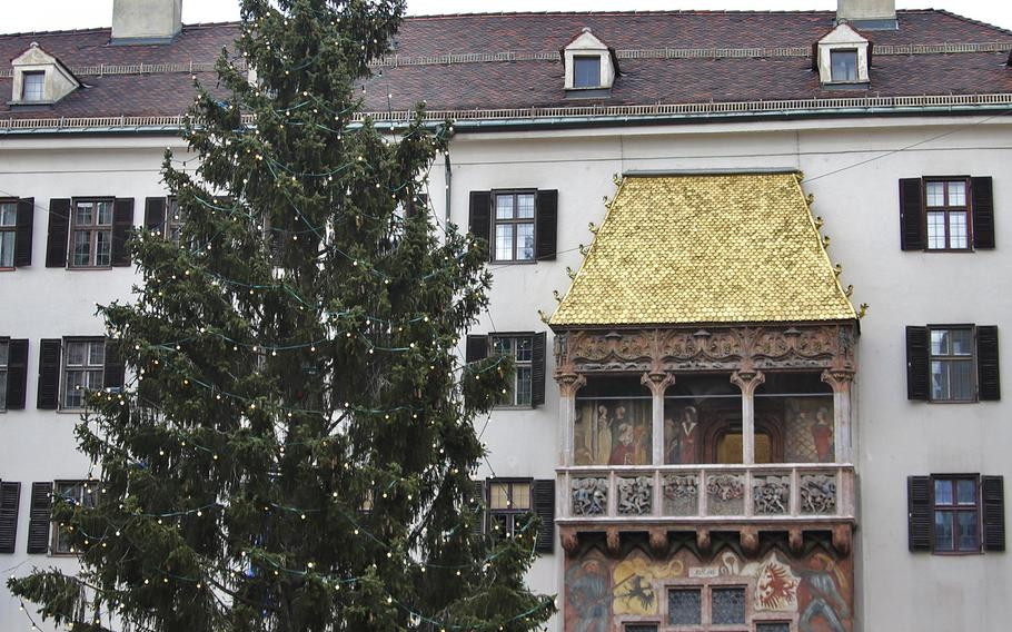 The Golden Roof, located in Innsbruck's city center, is a canopy entirely built of golden shingles that is believed to have been built by Emperor Maximilian I. He is said to have sat under the golden canopy and watched the festivities celebrating his assumption of rule over Tyrol, around 1490.