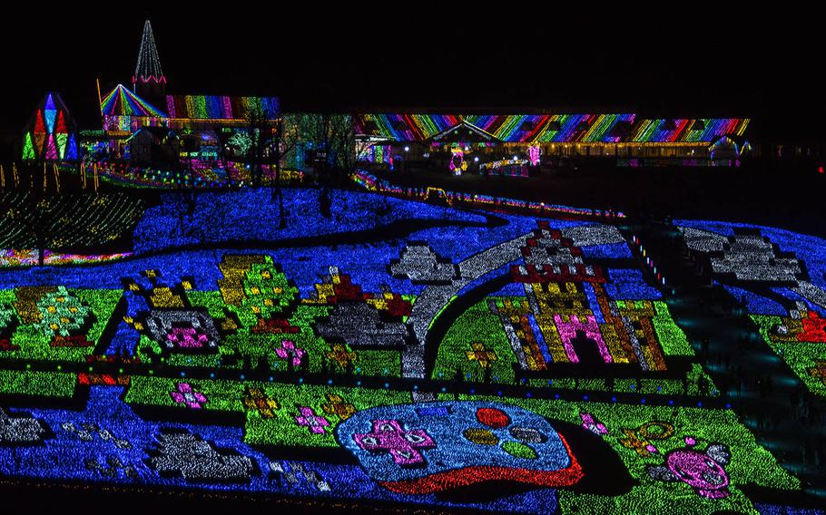Tokyo German Village, a theme park in Chiba prefecture, Japan, is holding its 14th annual winter illumination festival. The theme is 1980s video games.