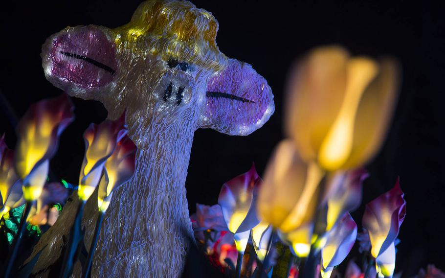 An illuminated pig looks over a field of electric tulips as part of a display at Tokyo German Village during the theme park's 14th annual illumination celebration.