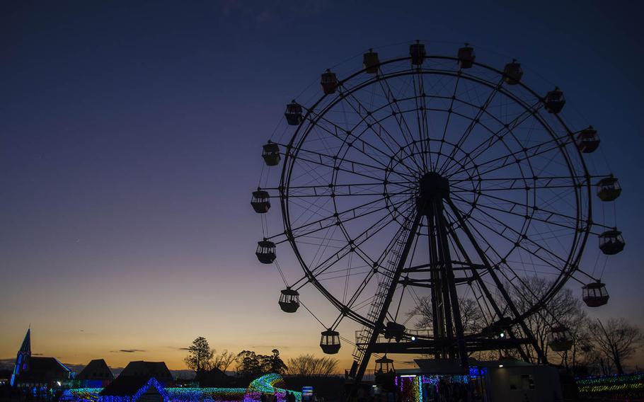 A Ferris wheel towers over Tokyo German village, a theme park in Chiba prefecture, Japan.