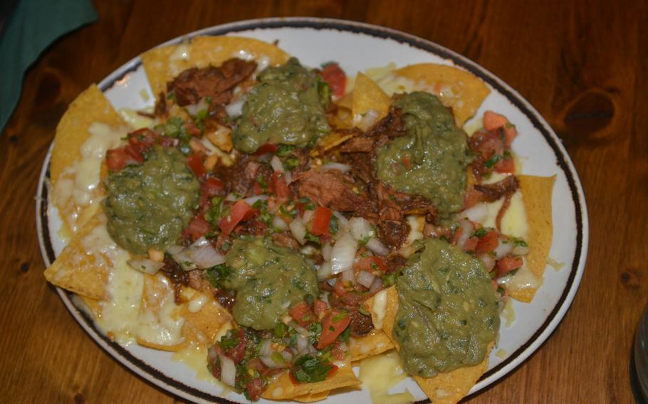 The pulled pork nachos with guacamole and pico de gallo are flavor-packed at the Hacienda Mexican Restaurant in Wiesbaden, Germany.