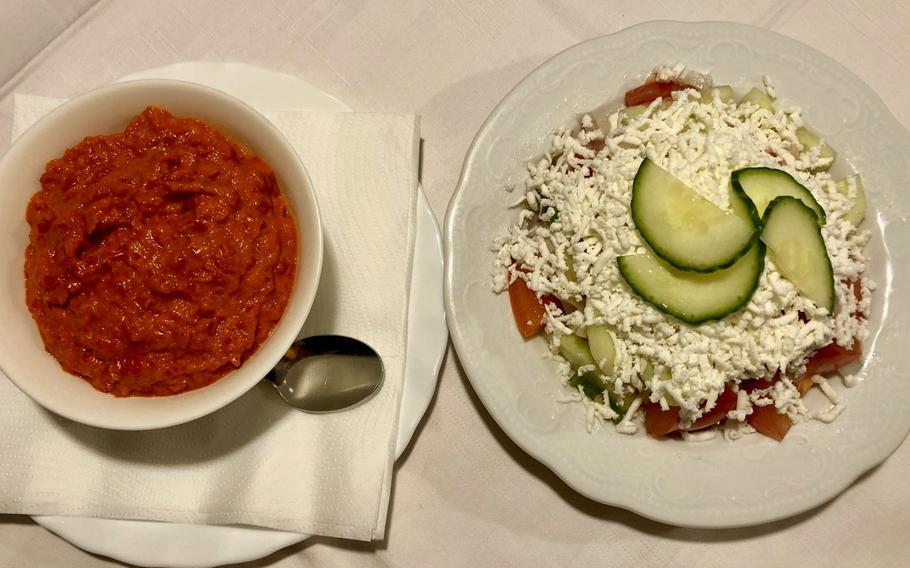 Ajvar and sopska, as served at The Balkan Grill in Kaiserslautern, Germany, are typical Balkan salads.