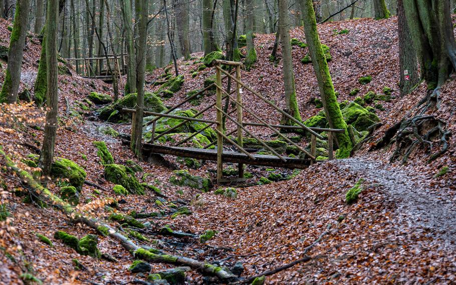 The Steckeschlaafer gorge trail has 15 small wooden bridges that take hikers over and around the Hasselbach stream.