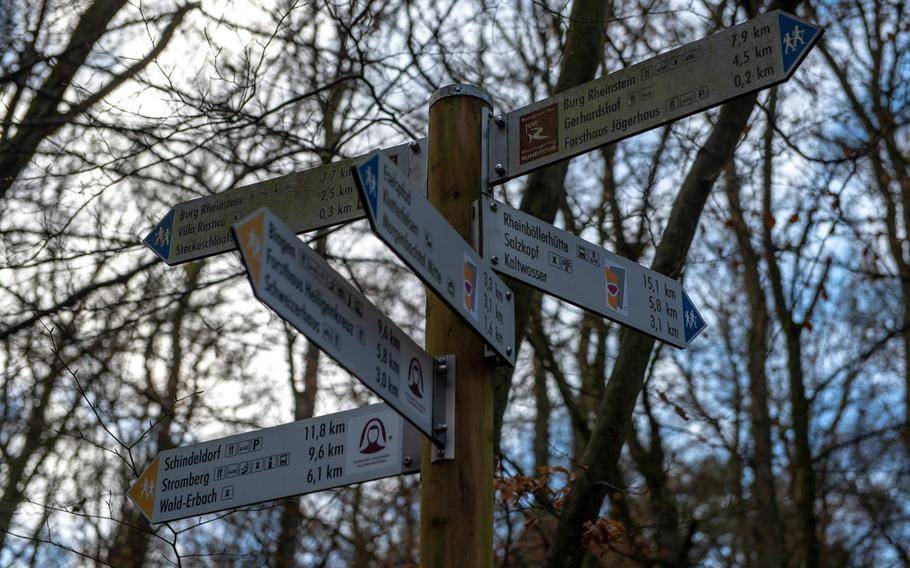 Numerous trails lead through the forest in the Morgenbach valley, which is home to the Steckeschlaafer gorge and its tree carvings. One trail takes hikers and cyclists to Rheinstein or Reichenstein Castle.