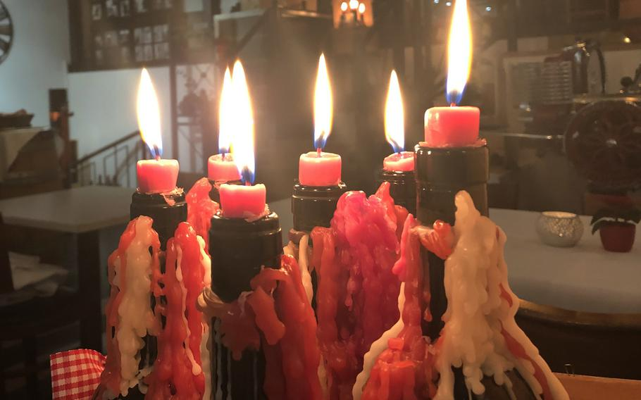 Candles in wine bottles may not be essential to a good night out but these added to the ambiance at Italiano Sapori Veri in Kaiserslautern, Germany.