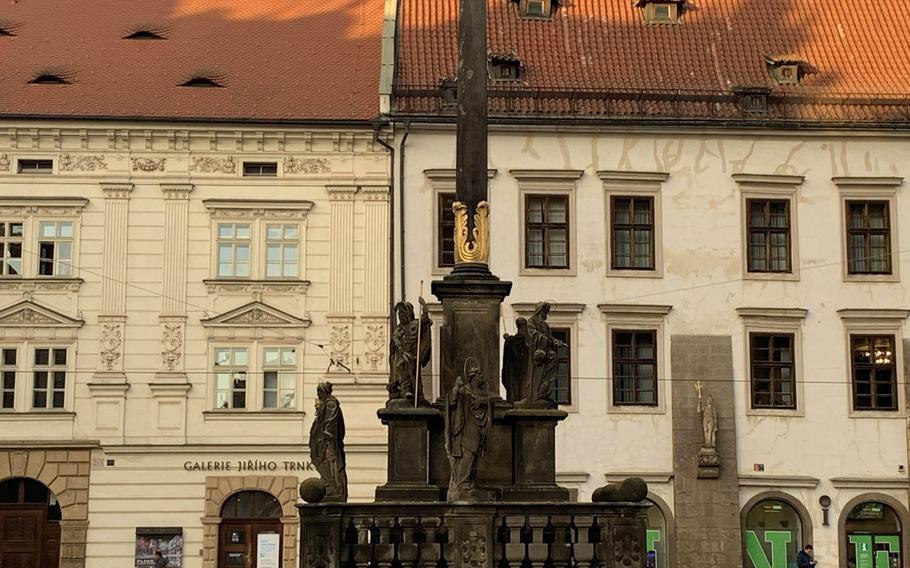 The Plague Column in Pilsen's Republic Square was built in 1681 to express thanks that the town was spared the ravages of the plague.
