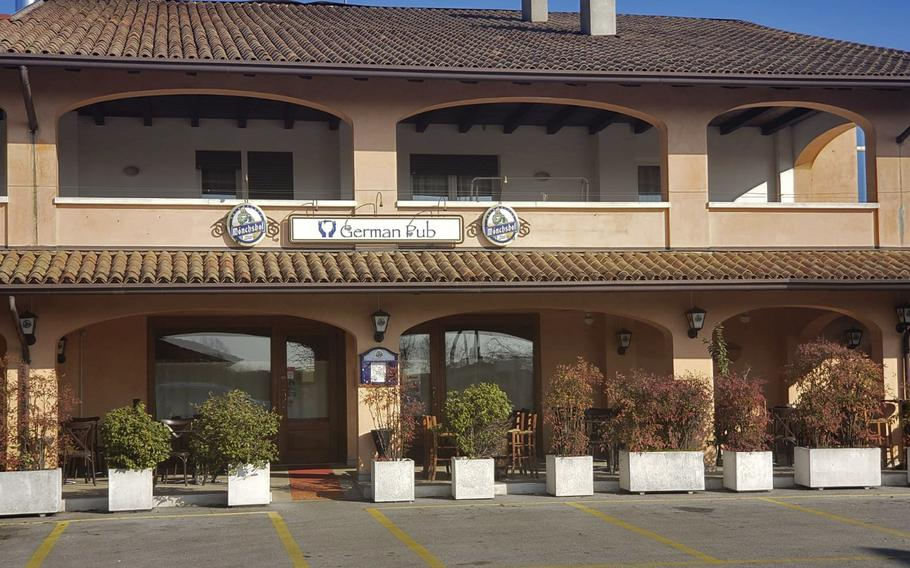 The German Pub and Alehouse is on the outskirts of the town of Sacile, Italy, about 9 miles from Aviano.