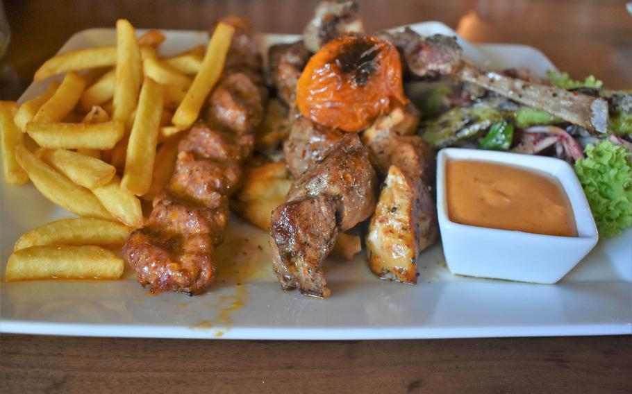 Old Station Restaurant in Kaiserslautern, Germany, specializes in skewers of meat. While the dish looked rather appetizing, the taste was unpleasant.