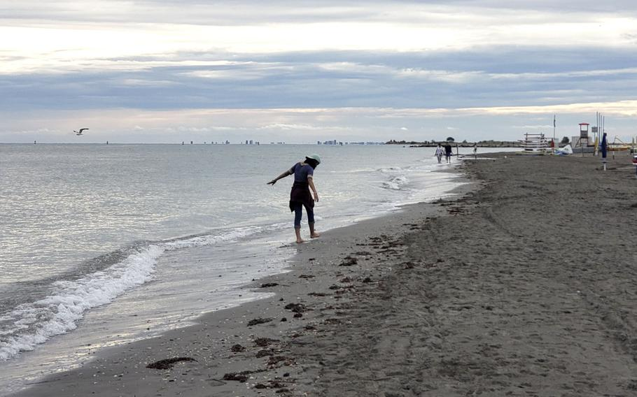 A beach in Grado, Italy, during the off-season. If you visit the island, just a 90-minute drive from Aviano, in the spring or fall, you're likely to have the beach to yourself.