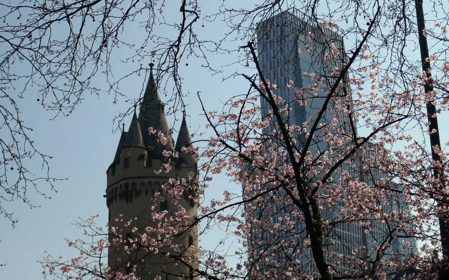 Old and new in Frankfurt am Main, Germany, seen behind blooming spring trees. At left is the Eschenheimer Tor, once part of the city's medieval fortifications, at right, the 443 foot-tall Nextower. The photo was taken from the Eschenheimer Anlage, part of the Wallanlagen, a greenbelt of parks surrounding the center of Frankfurt, north of the Main River.